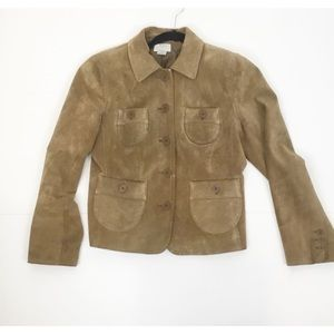 Vintage leather leather suede tan button jacket